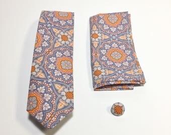 Men's Necktie, orange Pocket Square, orange tie, floral design, lapel pin, wedding accessory, holiday gift, Suit Accessory, groomsmen gift