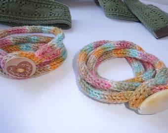 Knit bracelet, festival anklet, gift for teenager, cuff bracelet, boho bracelet, festival bracelet, wrap bracelet, summer accessory,
