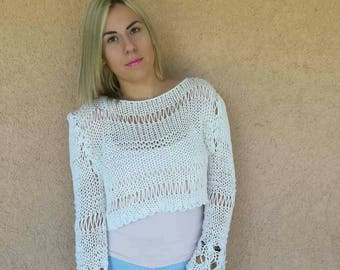 Loose sweater, Cropped sweater,Cropped Blouse, boho tops, sweaters for women, summer loose knit,