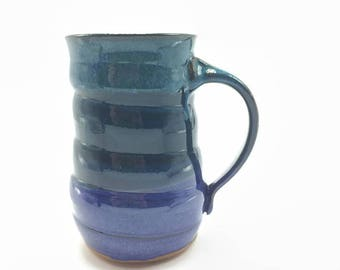 Pottery mug, ceramic mug, green glaze, coffee mug, tea cup, wheel thrown mug, stoneware mug, handmade mug, blue mug, blue pottery