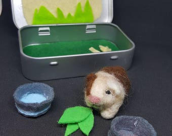 Needle felted guinea pig in a mint tin habitat
