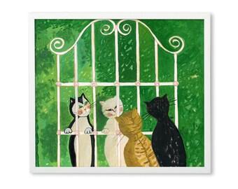 Cats gather Poster children illustration