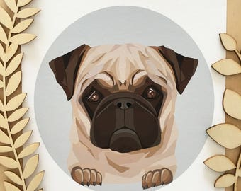 Pug print, Pug wall art, Pug decor, Pug Australia, Pug portrait, Pug geometric art, Pug illustration, Pet portrait