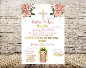 Virgen de Guadalupe Invitation, Mi Bautizo Invitaciones