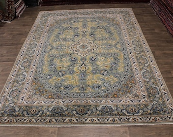 Astonishing Hand Knotted Sage Kashan Persia Area Rug Oriental Carpet Sale 10X13