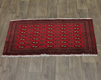Tribal Small Size Hand Knotted Red Turkoman Persian Rug Oriental Area Carpet 2X4