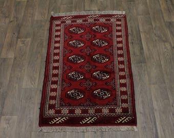 Great Red Handmade Ghoochan Turkoman Persian Area Rug Oriental Carpet Sale 3X5
