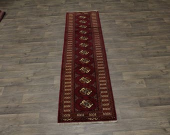 Excellent Hand Knotted Runner Turkoman Persian Style Area Rug Oriental Carpet 2ʹ4X9ʹ7