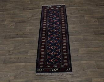 Fine Narrow Runner Bokhara Turkoman Persian Wool Rug Oriental Area Carpet 2X7