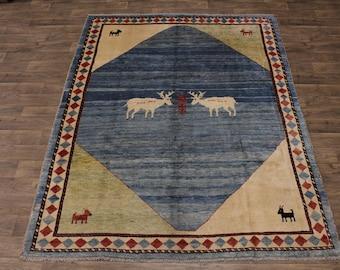 Excellent Handmade Tribal Gabbeh Persian Wool Rug Oriental Area Carpet 7ʹ5X9ʹ9