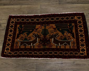 Amazing Unique Animal Design Small Tabriz Persian Rug Oriental Carpet 2'2X3'6