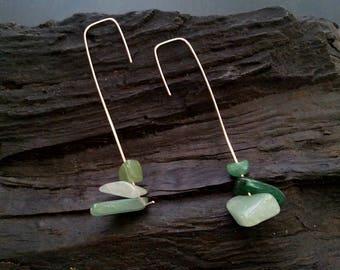 Minimal silver earrings, long gemstone earrings, dangle earrings, lambradorian earrings, green stone earrings, simple long earrings, gift