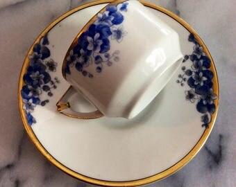 Vintage Blue & White Flower Tea Cup
