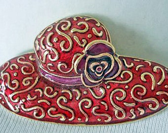 Red Hat Pin Brooch By Liz Claiborne