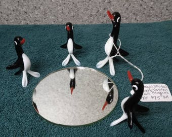 Venetian Glass Penguin family made in mid 1900's from Murano, Italy