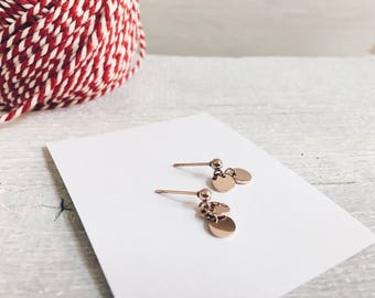 Earrings Circles Rose Gold Plated | Small Dangles Drop Earrings Stainless Steel