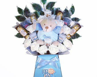 New Baby Boy Yankee Candle Bouquet - Sweet Hamper Tree Explosion - Perfect Gift