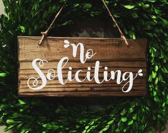 No Soliciting Sign, wooden sign, rustic sign, porch sign