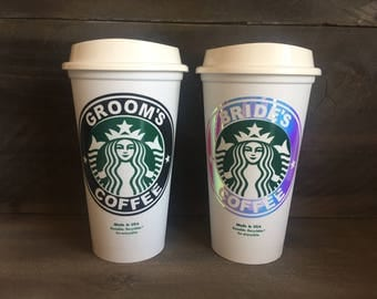 Bride and Groom Coffee Cups. Bride and Groom Starbucks Cups. Wedding Gift. Honeymoon Gift. Bridal Party Gift. Bride and Groom Cups. Wedding