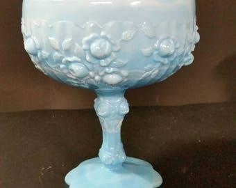 Vintage blue slag glass pedestal candy dish with rose design.