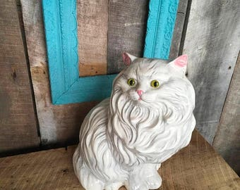On Sale Vintage Ceramic Cat, White with a Grey and Pink Ears, Screw In Green Eyes, Kitsch , Shabby Chic , Retro , Kitten , Large , Feline