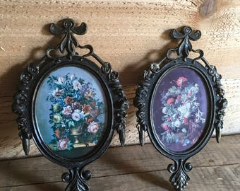 Vintage Flower Prints in Ornate Oval Frames , Floral , Hollywood Regency , Shabby Chic , Cottage Wall Decor , Small , Pair