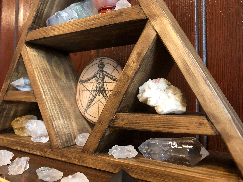 Crystal Triangular Display Shelf    Wicca    Witchcraft