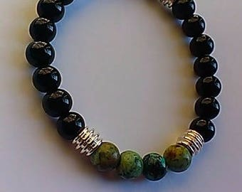 Men's Bracelet,women,gemstone,stretch,genuine,afrocentric,african,agate,african turquoise,protection,gift,inexpensive,unique,trendy