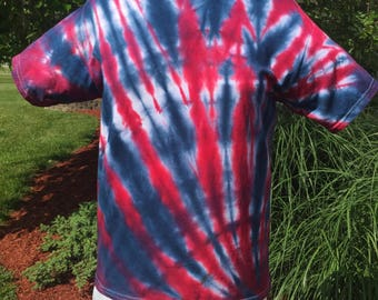 Red, Whjte and Blue Side Spiral Tie Dye Shirt