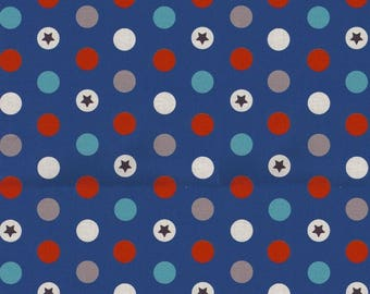 Dennis - Red, Brown, white, blue, Star Points on a blue background