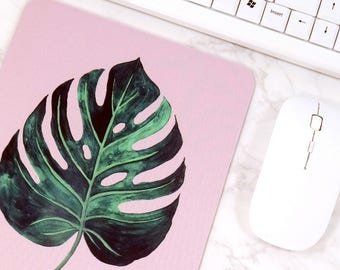 Natural Mouse Mat Monstera Leaf Mouse Pad Pink Office Decor For Women