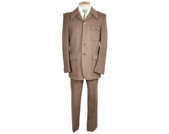 Vintage Lanvin Paris 60s Mod Dandy Mens Suit Tan Corduroy Size M