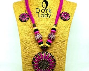 Handmade Terracotta Jewelry Set (Black, Pink & Yellow combination)