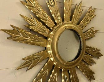 Vintage sunburst Wood carved Wall mirror 1960's