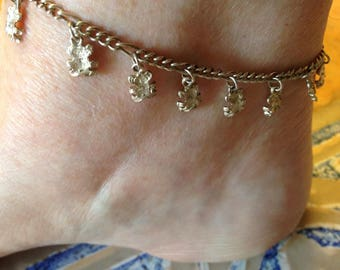Sterling Silver Anklet Bracelet with Bear Charms