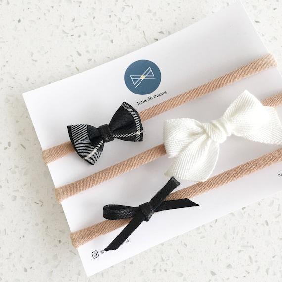 Bow set   MINI hair bows   monochrome mini bows   baby hair bow headband   baby girls bow   newborn headband   nylon baby headband