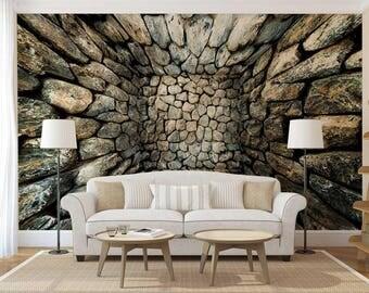 Wall Mural Stones, 3D Wall Mural, Stones Wall Decal, Wallpaper 3D, Wall decal 3D
