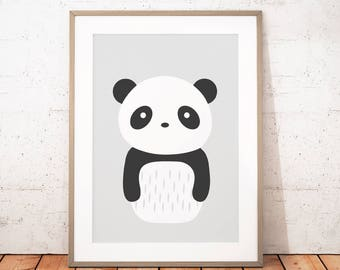 Nursery Animal Printable, Panda Print, Panda Printable Art, Black and White Nursery Animal, Scandinavian Nursery, Instant Download