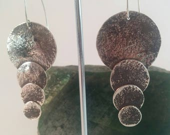 Descending Moons, Hadmade Silver Earrings, Sterling Silver,