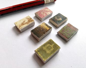 Miniature books, twelfth scale, set of 6 antiquarian books, victorian doll house, vintage look, dollhouse book bundle, mini journals