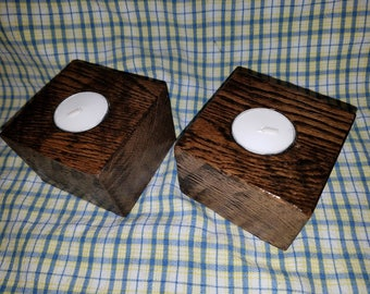 Repurposed wood tealight holder