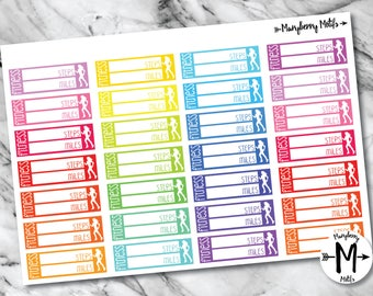 Steps and Distance Tracker Stickers for Planners
