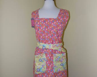 Reversible, Convertible, Cotton Women's Apron with birds and flowers