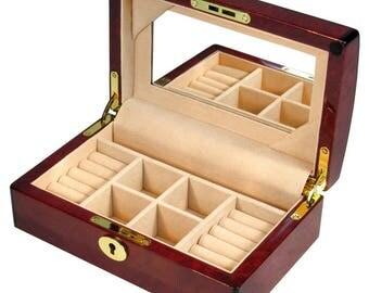 Laminated Makah Burl Jewellery Box with Mirror (MG106J)