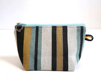 Makeup bag, zipper pouch, cosmetic bag   Small   Stripes