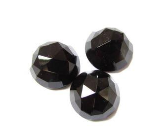 5 pieces 14mm Black Onyx Round Rose Cut gemstone, Black Onyx Rose cut Round gemstone, Round Rosecut Black Onyx gemstone, Black Onyx Rosecut