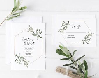 Elegant Wedding Invitations, Wedding Invitations, Printable Wedding Invitations, Calligraphy Wedding Invitations, Modern, Greenery, Floral