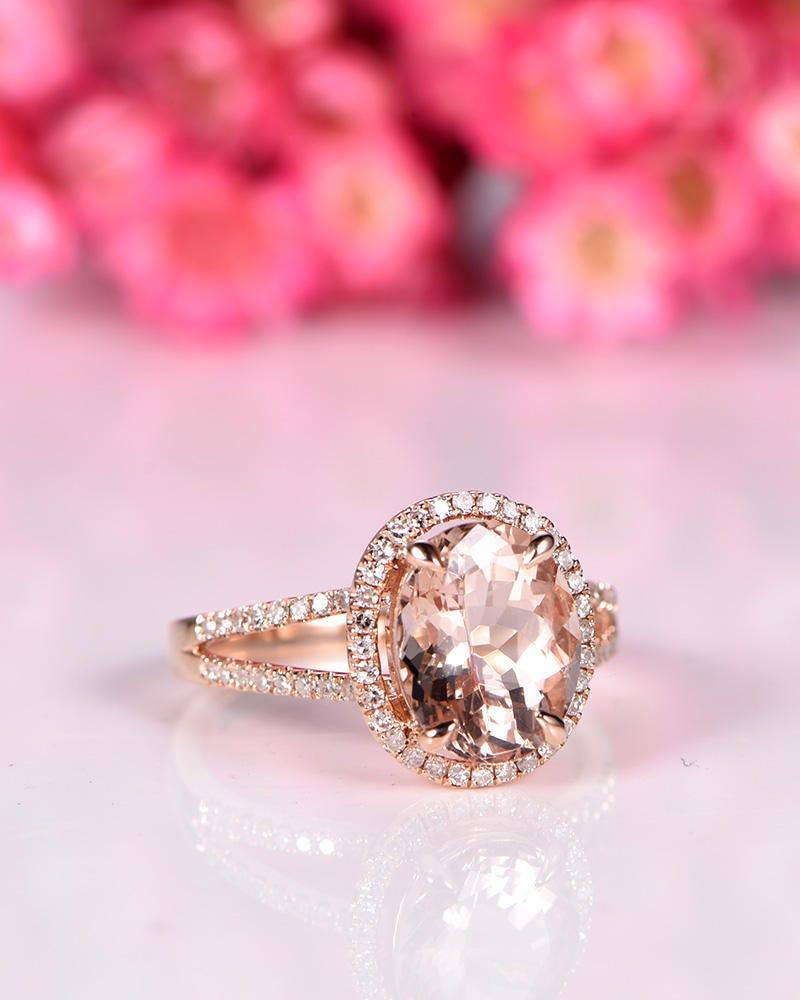 Big Morganite engagement ring 10x12mm oval cut morganite ring split ...