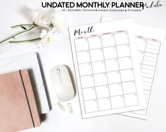 Undated Monthly Planner, Undated Planner, Month on Two Pages, Monthly Calendar, MO2P, Monthly Planner, Monthly Inserts, Printable Planner