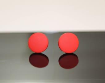 Round Flat Stud Earrings/ Matte Red Stud earringg/Hypoallergenic Stud earrings